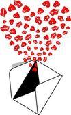 Envelope Kiss Love — Stock Vector
