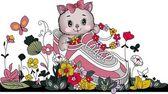 Kitten in tennis with flowers — Stock Vector