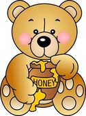 Bear eats Honey — Vector de stock