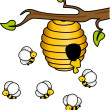 Stock Vector: Bees in the Hive
