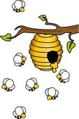 Bees in the Hive — Vector de stock