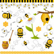 Stock Vector: Bee digital collage