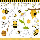 Bee digital collage — Vector de stock
