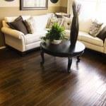 Hardwood flooring in modern living room — Stock Photo
