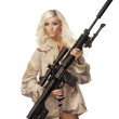 Woman modelling with high power fire gun — Stock Photo