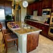 Kitchen with granite island counter — Stock Photo