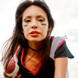 Young woman wearing American football Attire — Stock Photo