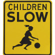 Retro warning sign for children playing - Stock Photo