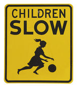 Retro warning sign for children playing — Stock Photo