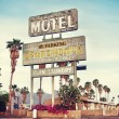 Old motel sign near Route 66, USA - Stock Photo