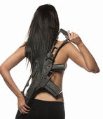 Sexy woman isolated holding army weapon — Stock Photo