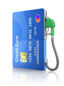 Credit card with gas nozzle — Stock Photo