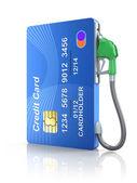 Kreditkort med gas-munstycke — Stockfoto