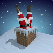 Santa Claus stuck in the chimney — Stock Photo