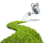 Watering can-watering grass — Stock Photo
