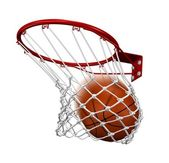 Basketball in the basket — Stock Photo