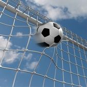 Soccer ball in the net — Stock Photo