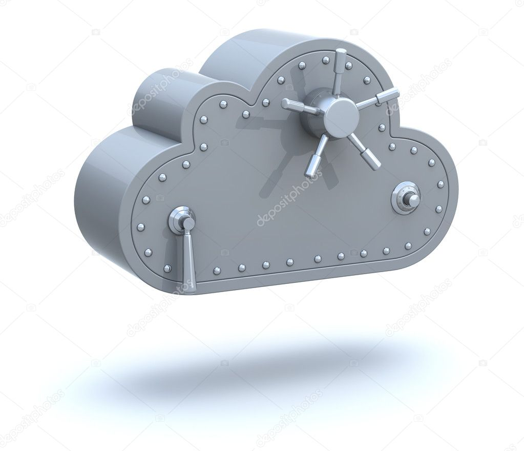 Safe Cloud Computing 3D Concept over white background — Stock Photo #7986679