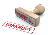 Bankrupt rubber stamp — Stock Photo