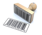 Ruber stamp with barcode — Stock Photo