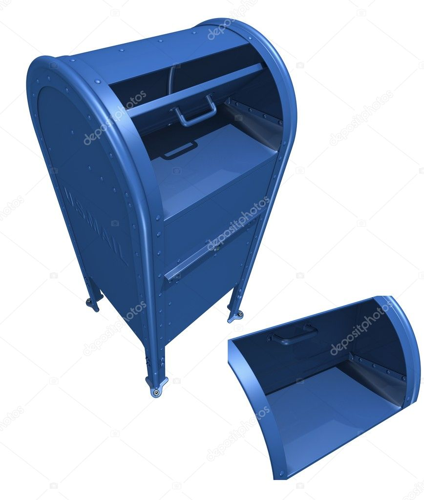 3D rendered US mailbox with OPEN and CLOSE position over white background  Stock Photo #8604646