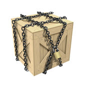 3D wooden crate with the chain — Stock Photo