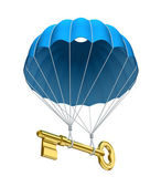 Parachute with the key — Stock Photo