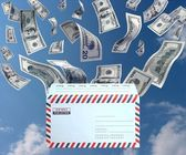 Money from the mail — Stock Photo