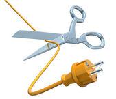 Scissors cutting the cord — ストック写真