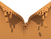 Destruction of a red brick wall — Stock Photo