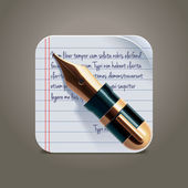 Vector fountain pen on notepad square XXL icon — Stock Vector