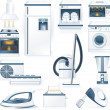 Vector detailed household appliances icons - Stok Vektr