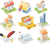 Vector real estate icon set — Stock Vector