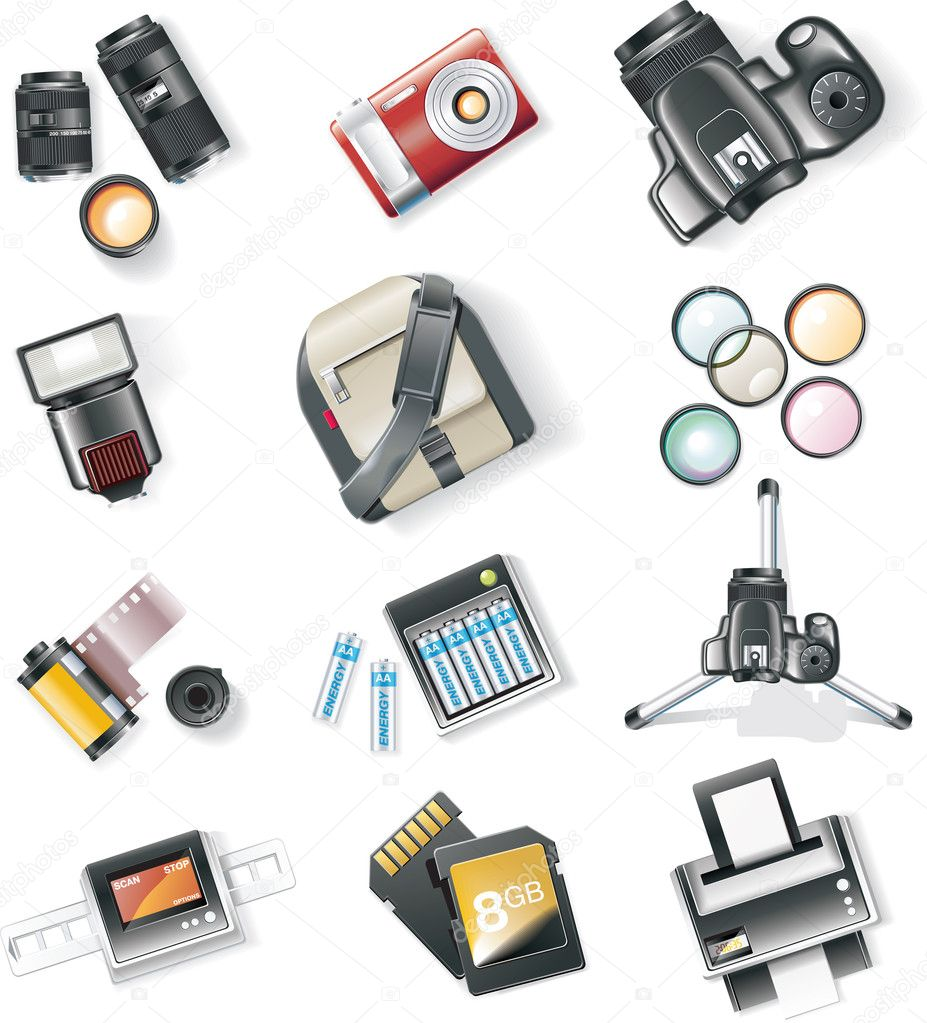 Set of detailed photography icons  Stock Vector #8424636