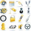 Vector car parts icon set - Stockvectorbeeld