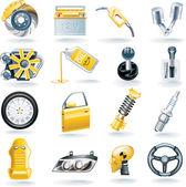 Conjunto de iconos de vector auto partes — Vector de stock