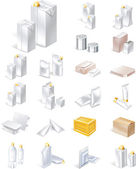 Emballage icon set vector — Vecteur