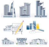 Vector detailed architecture icon set — Stock Vector