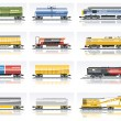 Vector railroad transportation icon set — Stock Vector