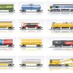 Вектор железнодорожные перевозки икона set — Cтоковый вектор