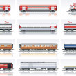 Vector railroad transportation icon set — Vector de stock #8525457
