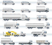Vector transportation icon set. Trucks and vans — Stock Vector