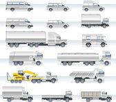 Vector vervoer pictogrammenset. vrachtwagens en bestelwagens — Stockvector