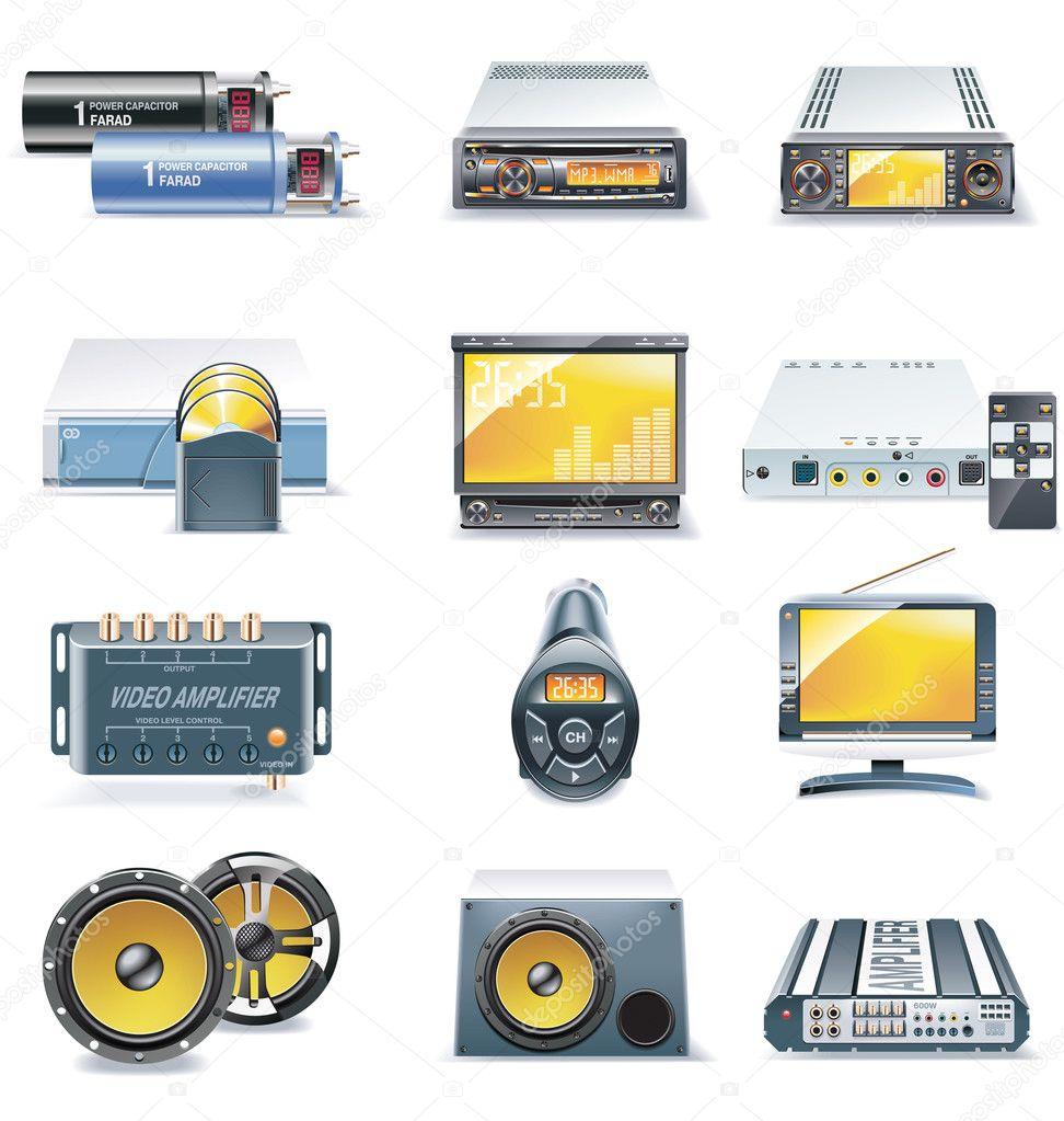 矢量汽车音响系统图标