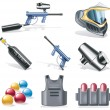 Vector paintball icon set - Stock Vector