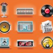 Vector radio icon set (orange background) - Stock Vector