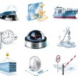 Vector marine transportation icon set - Stok Vektr
