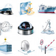 Vector marine transportation icon set - Stock Vector