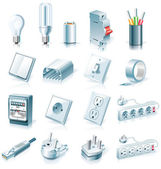 Vector electrical supplies icon set — Stock Vector