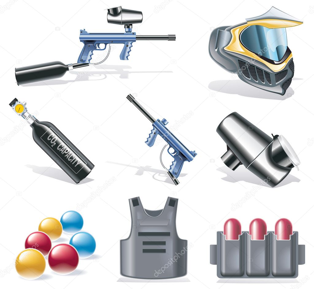 Set of detailed paintball equipment icons — Stock Vector #8584150